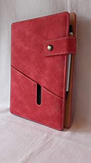 Smart Reusable Notebook - Notebook Cover with Pockets, A5 Notebook, Pen Holder and Pen (Red)