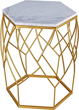 T J Side Table for Living Room (Gold Metal | White Marble TOP) Timeless Design | Glitter Gold Powder Coated Metal with Real M