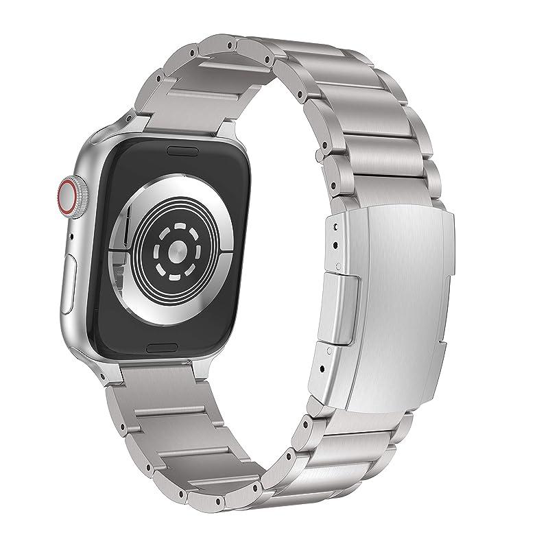 塩宿泊ラブNotoCity 対応apple watchチタン合金バンド38mm 42mm 40mm 44mm for Apple Watch Series4 Series 3 Series 2/1 Band (42mm/44mm, 銀)
