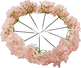 Kislohum Blush Artificial Hydrangea Flowers Heads for Wedding Bouquet DIY Floral Decor Home Garden Party Decorations,Pack of 10 with Stems-Blush