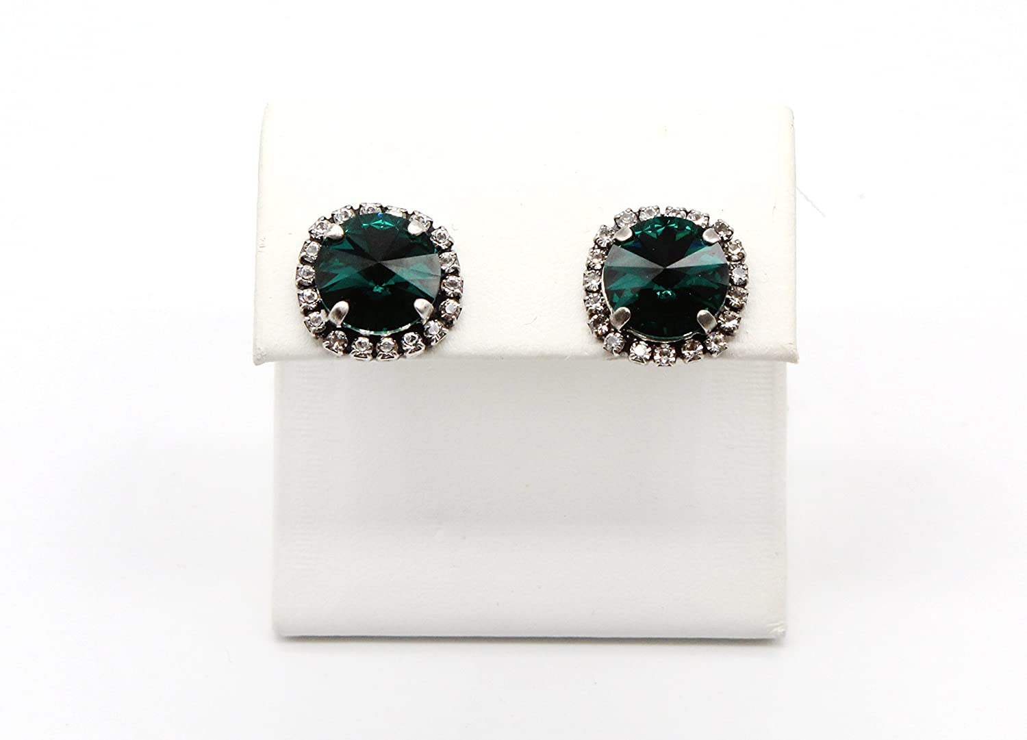 Emerald Save money Green Swarovski Crystal Elements a NEW before selling Earrings with Ha Stud