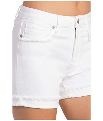 Miss Me Frayed High-Rise Shorts (White) Women