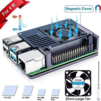 Custodia in Metallo Custodia per Radiatore Custodia per Raspberry Pi 4 con Ventola Doppia E Chiave Esagonale