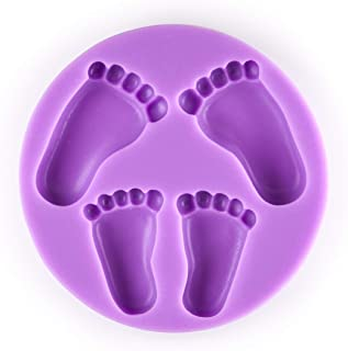 Tasty Molds 3D Baby Foot Print Fondant Footstep Silicone Mold High Definition Quality Baby Shower Cake Topper Feet Cupcake DIY Decoration Birthday Party Tool for Sugarcraft, Chocolate and Crafting