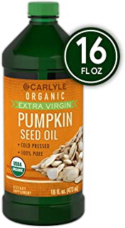 Carlyle Pumpkin Seed Oil 16oz Organic Cold Pressed   100% Pure, Extra Virgin   Vegetarian, Non-GMO, Gluten Free   Safe for Cooking   Great for Hair and Face