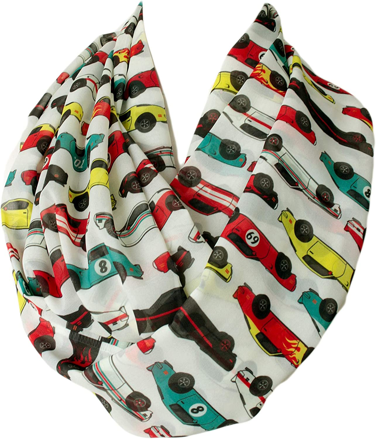 Etwoa's Classic Racing Car Pattern Infinity Circle Scarf