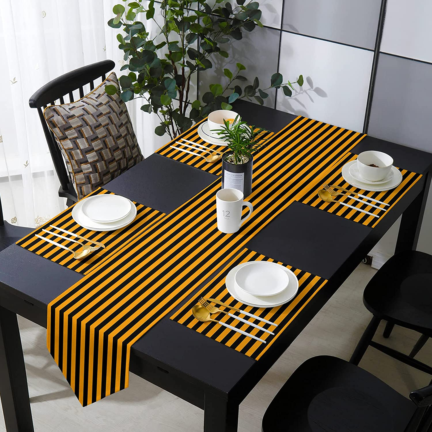 COLORSUM Animer and price revision Table Runner with Placemats Wa Challenge the lowest price Orange Stripes Halloween