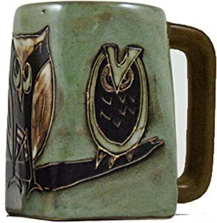 One (1) MARA STONEWARE COLLECTION - 12 Ounce Coffee Cup Collectible Square Bottom Mug - Owl Bird Design