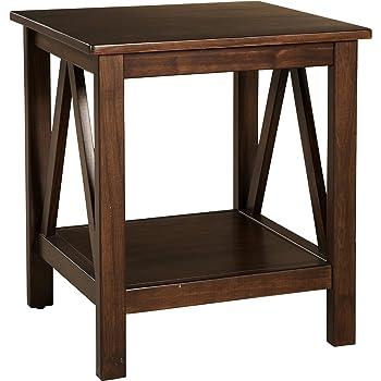 "Linon Home Dcor Linon Home Decor Titian End Table, 20""w x 17.72""d x 22.01""h, Antique Tobacco"
