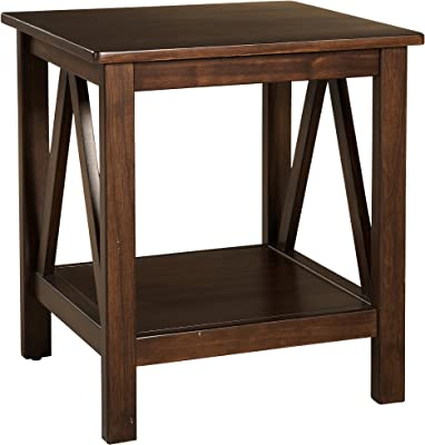 "Linon Home Dcor Linon Home Decor Titian End Table, 20""w x 17.72""d x 22.01""h, Antique Tobacco"
