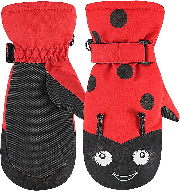 Kids Ski Gloves Toddlers Waterproof Snow Mittens Winter Ski Mittens Warm Cotton-lined Gloves for Boys Girls
