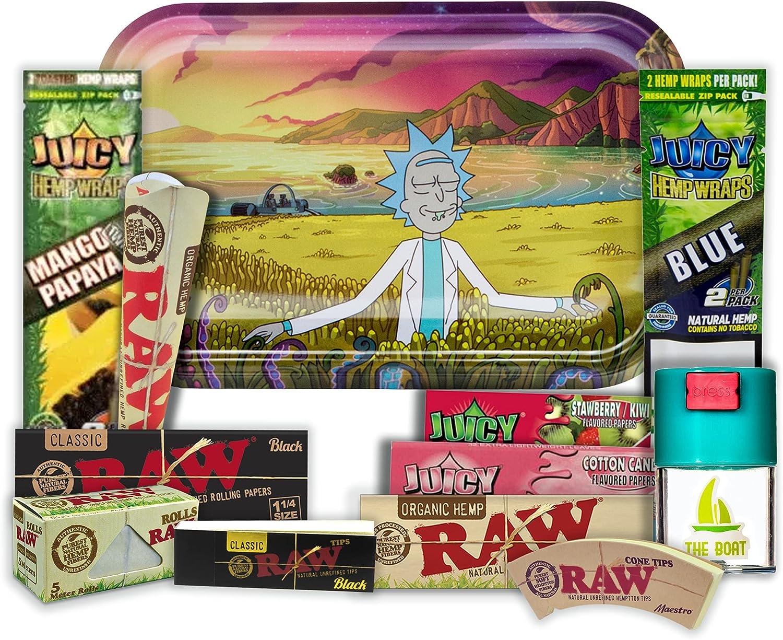 Bandeja para liar Rick y Morty 27,5 x 17,5 cm + Bote Antiolor THE BOAT + Juicy blunts + Papel Raw 1 1/4 Black y Organico, 5 metros + Maestro + Juicy papel de sabores + Cono KingSize