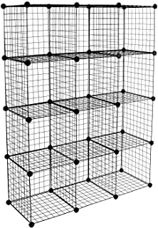 Work-It! Wire Storage Cubes, 12-Cube Metal Grid Organizer | Modular Wire Shelving Units, Stackable Bookcase, DIY Closet Ca...