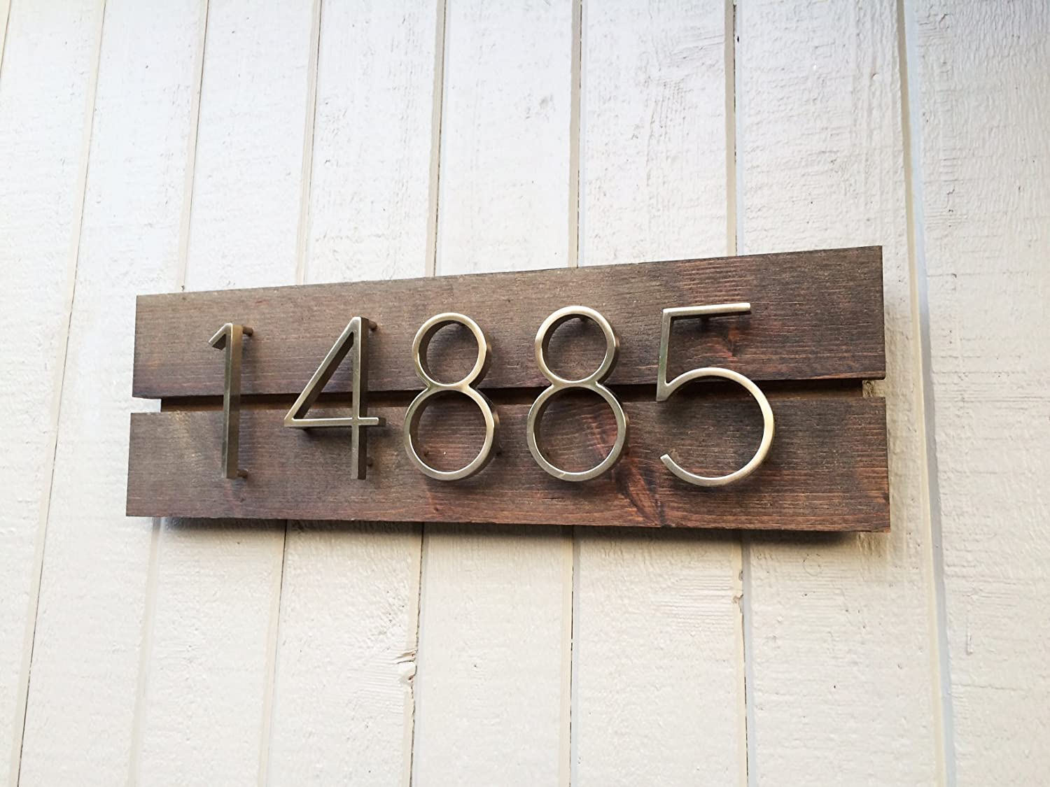 OFFicial site Modern Brand new House Numbers Dark Walnut -