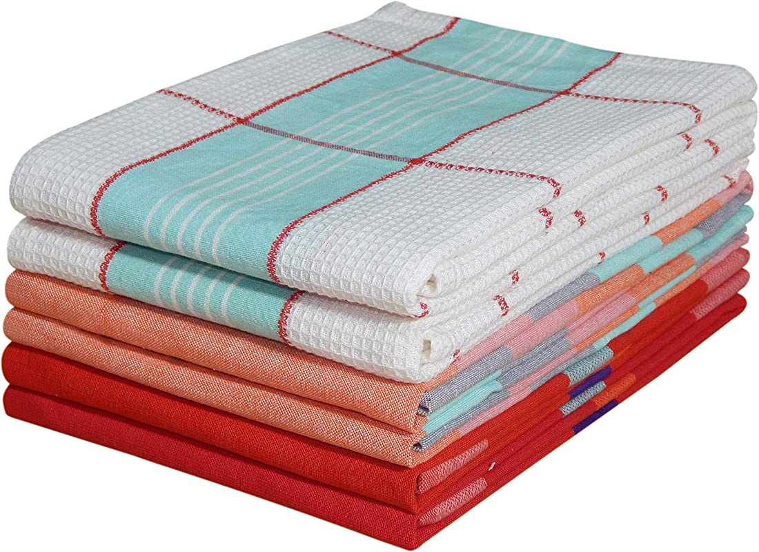 Tiny Break Cotton Kitchen Towels 20x28 Set Of 6 Decorative Tea Towels For Everyday Kitchen Cooking And Baking Assorted 3