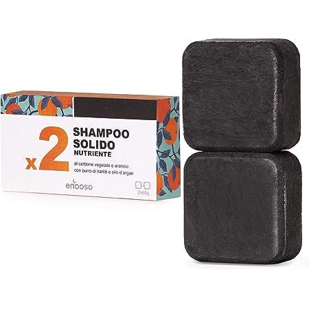 Shampoo Solido Bio Purificante e Nutriente al Carbone Vegetale 130 g - Enooso - 100% Artigianale Biologico Naturale Vegano - Made in Italy
