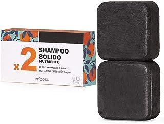 Shampoo Solido Bio Purificante e Nutriente al Carbone Vegetale - Enooso - 100% Artigianale Biologico Naturale Vegano - Mad...
