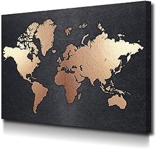 Foto Canvas Cuadro Mapamundi Decoración Pared | Lienzos De Arte Moderno para El Hogar | Ideal para decoración salón | 40 x 30 cm sobre Bastidor de Madera Grueso