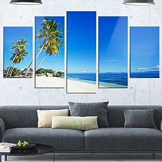 Designart Palms Bent to Beautiful Vacation Beach-Modern Seascape Glossy Metal Wall Art, 60x32-5 Panels Diamond Shape, Blu...