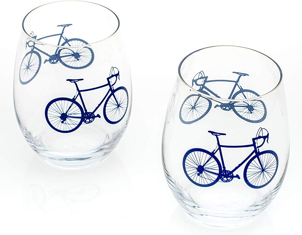 Greenline Goods Bicycle Stemless Wine Glasses Set Of 2 15 Oz Drinkware With Colorful Bicycle Designs Unique Gifts For Cyclists Bike Riders Navy
