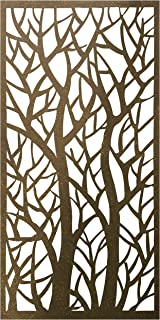 Stratco Decorative Privacy Screen Panel | 4' x 2' Screen | Forest Design with Rustic Look Four Foot by Two Foot Lightweight Metal Privacy Screen