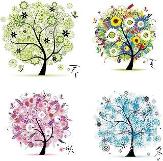 Labellevie Kreuzstich Stickerei DIY Handarbeit Stickpackung Set vom Baum des Lebens 45  45cm: Vier jahreszeiten
