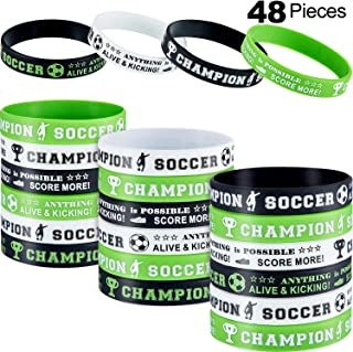 Hicarer Soccer Silicone Wristbands Soccer Theme Rubber Wristbands Soccer Bracelet Wristbands for Soccer Themed Birthday School Gifts Party Favors (48 Pieces)