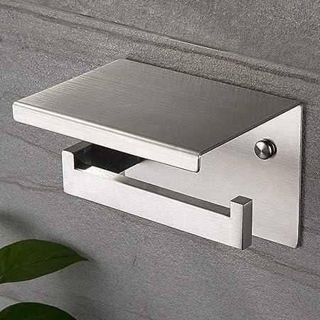 Ruicer Porte Papier Toilettes avec Etagère, Support Papier Toilette SUS 304 Acier Inoxydable Auto-adhésif ou Installation Murale…