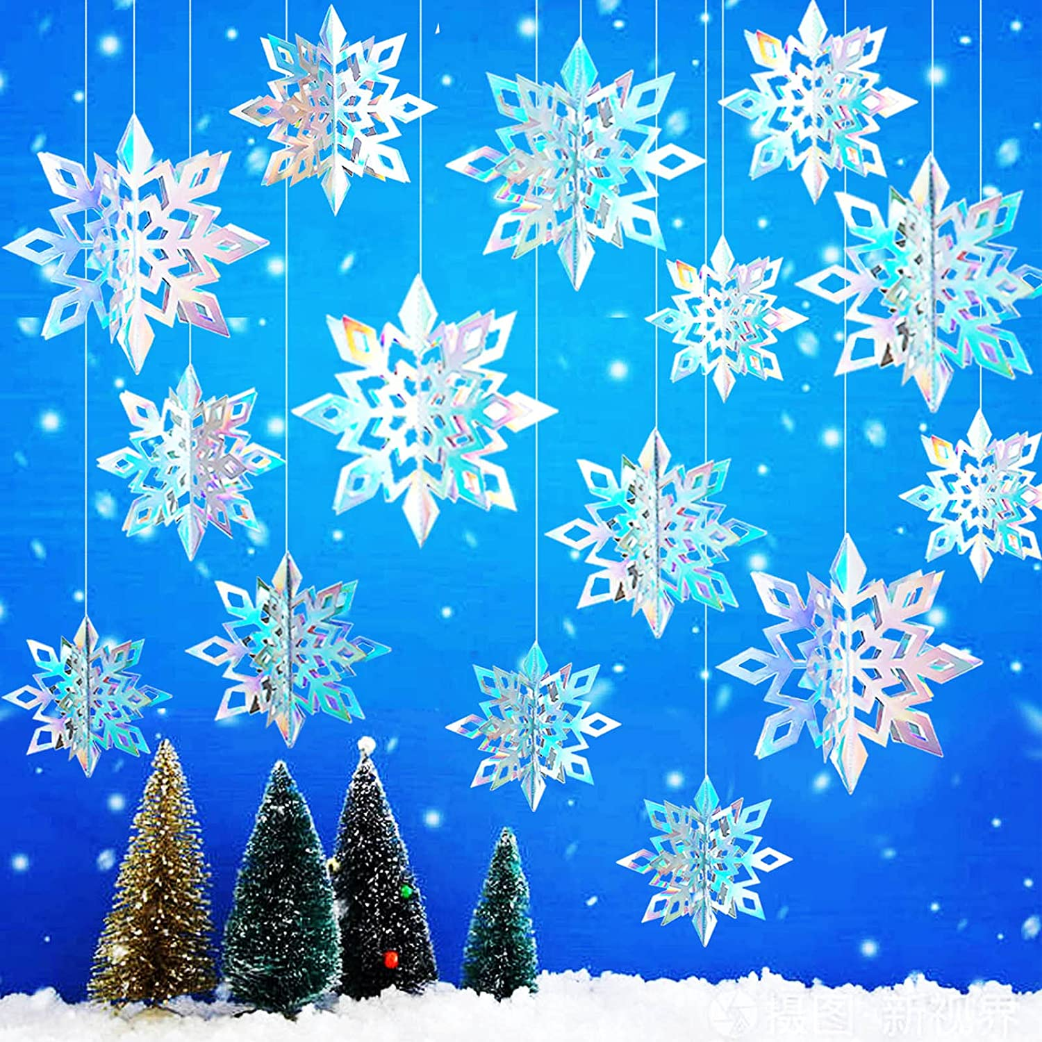 15pcs Winter Christmas Hanging Snowflake Decorations, 3D Holographic Snowflakes for Christmas Winter Wonderland Decorations Frozen Birthday New Year Party Home Decorations