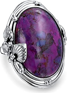 Native American Style Large Oval Boho Statement Stabilized Purple Turquoise Ring For Women 925 Sterling Silver