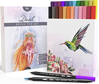 Dual Tip Brush Pen Marker Set - 24 Colors - Calligraphy Markers - Flexible Brush & Fineliner Tips - Watercolor Effects - Perfect for Adult Coloring Books, Manga, Hand Lettering, Bullet Journal Pens