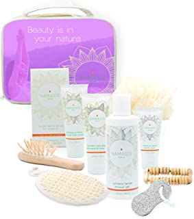 Mothers Day Gift! 11-Pieces Bath & Body Home Spa Gift Set with Charcoal Masque, Super-fruit Eye-Lift Cream, Hand & Body Lotion, Shower Gel, Bath Salt, Shower Pouf, Sisal Sponge, More