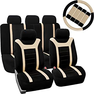 FH Group FH-FB070115+FH2033 Sports Fabric Car Seat Covers, Airbag Compatible and Split Bench w.Steering Wheel Cover and seat Belt Pads, Beige- Fit Most Car, Truck, SUV, or Van