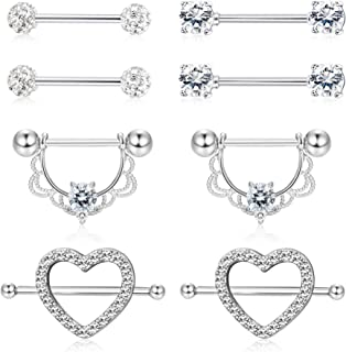 4 Pairs 14G Stainless Steel Nipplerings Nipple Tongue Rings CZ Opal Barbell Body Piercing Jewelry