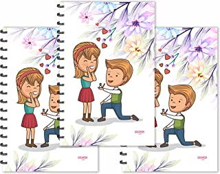 ESCAPER Boy Proposing Girl Cartoon Designer Diaries (Ruled - A5 Size - SUPER SAVER Pack of 3 Diaries)   Slogan Diary   Quo...