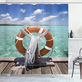 Ambesonne Buoy Shower Curtain, Life Buoy on Jetty Summer Sky Sunshine Exotic Hot Tropical Weather on The Seashore, Cloth Fabric Bathroom Decor Set with Hooks, 84