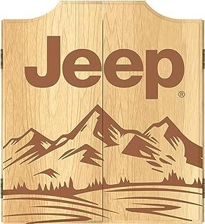 Trademark Global Dart Board Cabinet Set- Jeep Sand Mountain Dartboard Game Includes 6 Steel Tip Darts, Scoreboard & Hanging Wood Cupboard