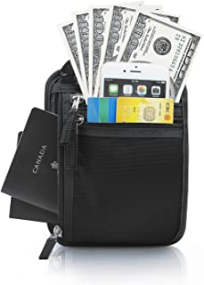LC Prime Travel Neck Pouch Neck Wallet with RFID Blocking, Passport Holder to Keep Your Cash and Documents Safe