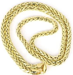 Beauniq Men's 14k Yellow Gold Lightweight 4.1 Millimeter Diamond-Cut Spiga Round Wheat Chain Necklace