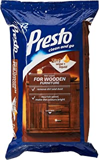 Presto Wipes for Cleaning Wooden Furniture, 72 Units