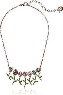 Betsey Johnson Colorful Stone Flower and Bettle Frontal Necklace, Pink, One Size