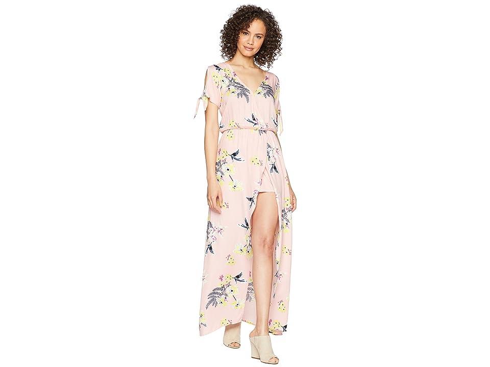 Jack by BB Dakota Anaya Golden State Floral Printed Wrap Dress with Shorts (Coral Pink) Women