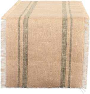 DII CAMZ38412 Border Burlap Table Runner, 14x108, Double Stripe Artichoke