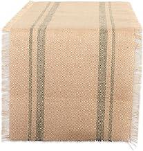 DII Jute Burlap Collection Kitchen Tabletop, Table Runner, 14x108, Double Stripe Artichoke