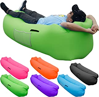 Skoloo Inflatable Lounger Air Sofa, Portable Water Proof Anti-Air Leaking & Pillow-Shaped Designed Couch for Backyard Pool Travel Camping Hiking Lakeside Picnics Music Festivals Beach Parties