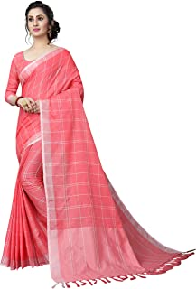 Perfectblue Women's Linen Saree With Blouse Piece (LinenMaxVariation)