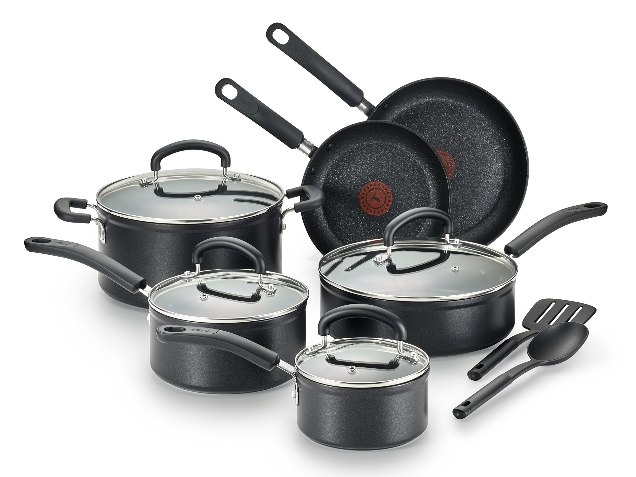14-Piece T-fal E918SE Ultimate Hard Anodized Durable Nonstick Expert Interior Thermo-Spot Heat Indicator Anti-Warp Base Dishwasher Safe PFOA Free Oven Safe Cookware Set Gray