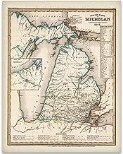 1845 Michigan Map Art Print - 11x14 Unframed Art Print - Great Vintage Home Decor Under $15