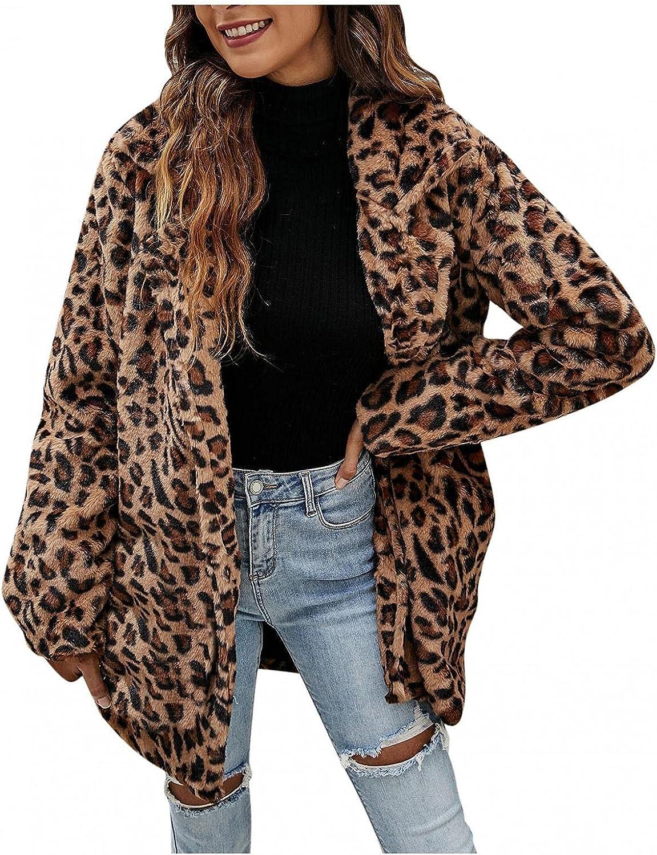 HUOJING Women's Faux Fur Coats Leopard Print Plush Cardigan Pock