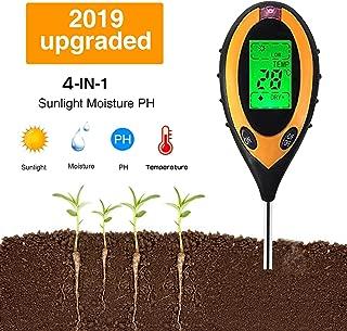 Yiteng 4 in 1土壌測定器 土壌テスター シンワ測定 デジタル土壌酸度計地温 PHメーター 水分 照度/水分含有量/温度測定 PHテスター 土壌測定器 多機能 農業 園芸用品 家庭菜園対応 簡易型 屋内/屋外使用可能